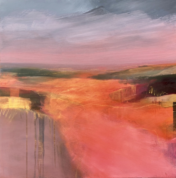 'Wildfire sunset' - an abstract landscape painting by Louise Turnbull